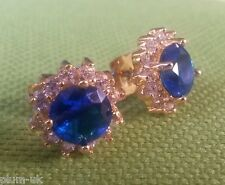 MR Blue & white sapphires 10mm 18ct yellow gold gf stud earrings BOXED Plum UK