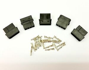 PK OF 5 - MALE 4 PIN MOLEX PC PSU POWER SUPPLY CONNECTOR - BLACK INC PINS