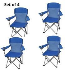 Set of 4  Folding Camp Chair Mesh Net Back Sturdy Steel Frame Blue w/ Cup Holder