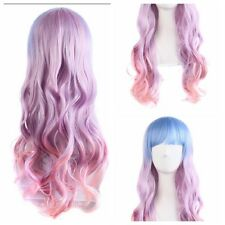 Women's Purple Pink Mix Anime Synthetic Hair Long Lolita Wigs Wavy Wigs Cosplay