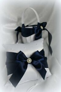 White Flower Girl Basket and Pillow-Navy Ribbon/Pearls-Age to 5