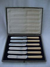 ANTIQUE CASED SET OF SIX SHEFFIELD STAINLESS STEEL CREAM HANDLES DESSERT KNIVES