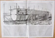 "1857 ANTIQUE PRINT -THE ""GREAT EASTERN"" BUILDING ON THE STOCKS, MILLWALL"