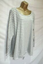 GEORGE ~ LADIES GREY STRIPE CASUAL LOUNGING LONG SLEEVE TOP ~ SIZE 24