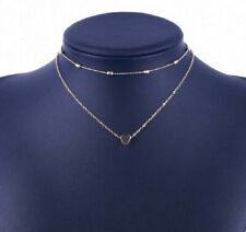 BNWT Gold Multilayer Chain Bead Heart Necklace Choker
