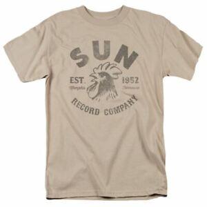 Sun Records Vintage Logo T Shirt Mens Licensed Rock Record Label Tee Sand