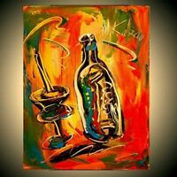 WINE TIME   ABSTRACT  stretched  PAINTING CANVAS ART CONTEMPORARY UIERG