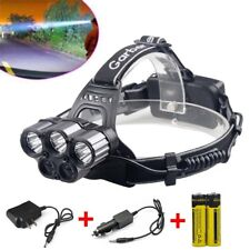 80000LM 6 Modes Cree 5x XM-L T6 LED Rechargeable 18650 Headlamp Battery&Charger