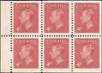 Canada Mint NH F-VF Booklet Pane of 6 with POSTES 1950  Scott #287b KGVI Stamps