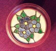 WOODEN TRINKET BOX, ROUND WITH STAINED GLASS LID, HAND-MADE 1970
