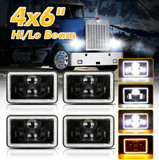 4pcs 4x6 Led Headlights Hilo Withdrl For Peterbilt 379 378 Freightliner Fld120 Fits Mustang
