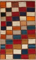 """Mother's Day Sale Checked Color-full Gabbeh Persian Modern Wool Rug 4' 4"""" x 2' 8"""
