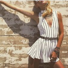 ILLIOU - Ladies size 10 black and white striped choker playsuit BNWT RRP $59.95.