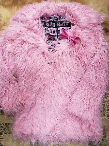 Dolls Kill x Hello Kitty Pink Shag Faux Fur Full Zipper Coat jacket SMALL Lined