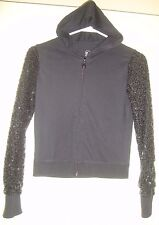 "Justice~girl's~Black /Zippered/Top/w/Sequinned/ Sleeves! (16) ""euc"" @ Cute!"