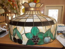 """Antique 19"""" Leaded Hanging Lamp Shade Ca. 1900 - Leaves, Grapes & 3D Fruit"""