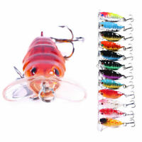 1Pc 4cm/4.4g Insect Cicada Fishing Lure Crankbait Hooks Bass Topwater Hard Bait