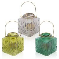 3x Tea Light Candle Holder Square Romantic Wedding Pool Night Sun Glass Coloured