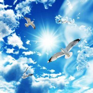 Groß Decke Wandmalerei 3D Stereo Himmelblau Weiß Wolken Taube Fototapete Dekors
