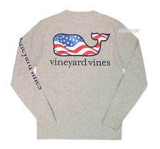 "Vineyard Vines Men LS Graphic Pocket Crew Tee T-Shirt ""WAVING FLAG WHALE FILL"""
