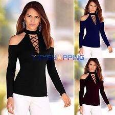 donna manica lunga casual slim top t-shirt spalle scoperte fascia camicia maglia