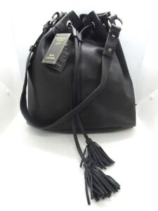 Osprey London BNWT Drawstring Hoxton Hobo Bag Black Waxed Nappa Leather