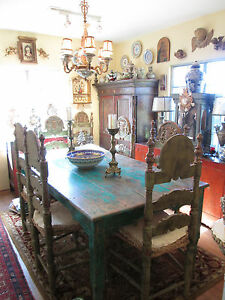 8 Early 19th Century Hand-Carved and Gilded Spanish Colonial Chairs from Spain