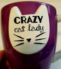 CRAZY CAT LADY 3-Dimensional Kitty Cat Design Coffee Mug Large 18 oz Ceramic Cup