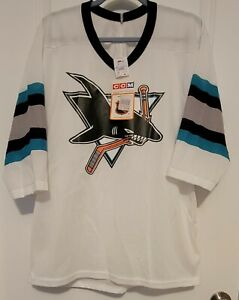 NWT White CCM San Jose Sharks Jersey  Vintage 90s Air Knit Adult Small