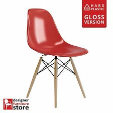 Replica Eames DSW Dining Chair with Beech Legs - Red (ABS Plastic)