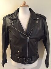 Rare VTG PHOENIX Black Motorcycle Biker Bomber Leather Jacket Women's Sz 16