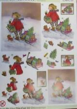 3D A4 Die Cut Paper Tole Decoupage Christmas Girl Sled 2 pictures NoCutting NEW