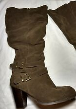 Torrid Size 10 Brown Genuine Suede Buckle Ankle Slouchy Boots Wide Width Calf