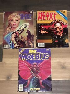 2 HEAVY METAL FANTASY MAGAZINES 1978 1982 & MOEBIUS 1981 / Vintage Erotica Comic