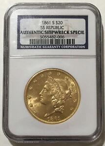 1861-S SS Republic Shipwreck $20.00 Gold Double Eagle. Pop 98 -006