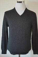 Cremieux Classics - SMALL Charcoal Gray Cotton Cashmere V-Neck Sweater $90 (M78)