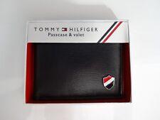 Billetera De Cuero Para Hombres 'Tommy Hilfiger' Doble Pliegue-Negro {} MRP £ 78.00