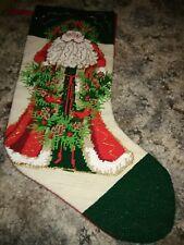 Vintage Christmas Stocking Needlepoint Father Christmas Red Velvet Backing Lined