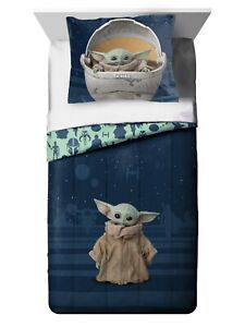 Star Wars Baby Yoda Twin/Full Comforter and Sham Set Kids Bedding Navy Blue NEW