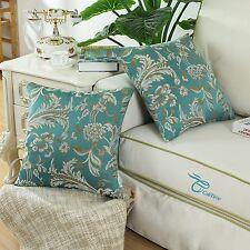 2PCS Square Teal Cushion Covers Pillows Shells Jacquard Floral Home Decor 45cm