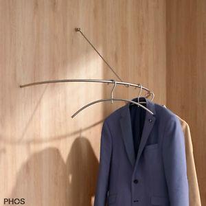 Garderobe Edelstahl halbrund 80 cm matt geschliffen Wandgarderobe - PHOS Design