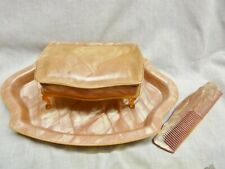 art deco dressing table set pink hairbrush tray comb jewellery box celluloid old
