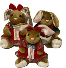 The Velveteen Rabbit Plush Christmas Family 1995 Commonwealth Vintage Set Of 3