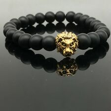 Mens Fashion Black Lava Stone Gold&Silver Lion Beaded Cuff Charm Bangle Bracelet