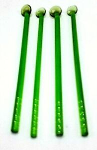Vintage Lot of 4 Glass Cocktail Swizzle Sticks Spoons Absynthe Green Spoon End