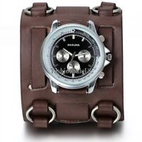 Mens Roman Numerals Personality Sport Decoration Wrist Watch Wide Leather Band