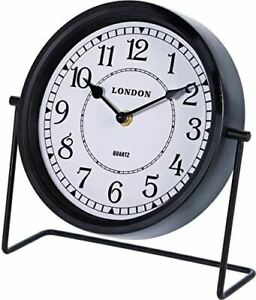 London Antique Finish Black Retro Table Clock with Stand