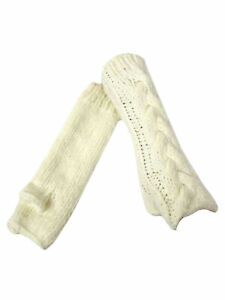 LONG THICK CABLE KNIT ARM WARMER GLOVES