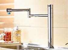 Folding Mixer Tap Chrome Brass Kitchen Sink Faucet Swivel Spout Single Handles