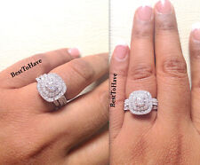 5850df5e0 925 Silver Ladies 3 piece Wedding Engagement Round Cut Halo Bridal Ring Set